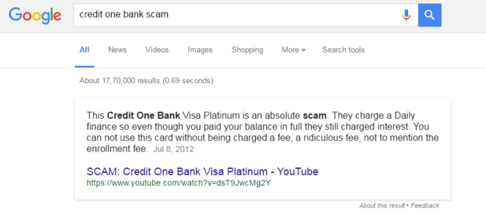 Credit One Bank Scam Online Experts