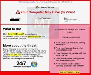 Pop up Tech support scam tlc